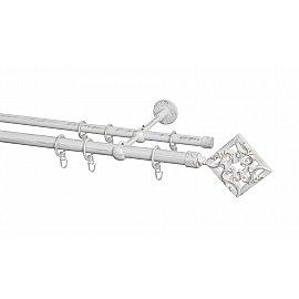 Карниз металлический Arttex с наконечником №260, 2-рядный, белое золото ампир, 280 см, ø 20 мм, ø 16 мм