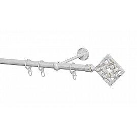 Карниз металлический Arttex с наконечником №260, 1-рядный, белое золото ампир, 300 см, ø 20 мм