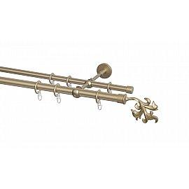 Карниз металлический Arttex с наконечником №365, 2-рядный, бронза, 160 см, ø 20 мм, ø 16 мм