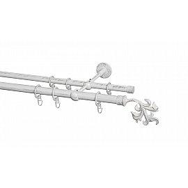 Карниз металлический Arttex с наконечником №365, 2-рядный, белое золото ампир, 320 см, ø 20 мм, ø 16 мм