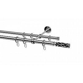 Карниз металлический Arttex с наконечником №37, 2-рядный, хром, ø 20 мм, ø 16 мм