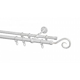 Карниз металлический Arttex с наконечником №72, 2-рядный, белое золото ампир, 240 см, ø 20 мм, ø 16 мм