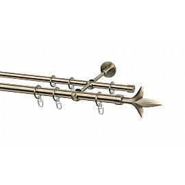Карниз металлический Arttex с наконечником №75, 2-рядный, золото антик, 200 см, ø 20 мм, ø 16 мм