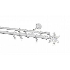 Карниз металлический Arttex с наконечником №87, 2-рядный, белое золото ампир, 200 см, ø 20 мм, ø 16 мм