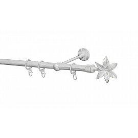 Карниз металлический Arttex с наконечником №87, 1-рядный, белое золото ампир, 160 см, ø 20 мм
