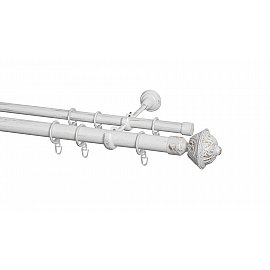 Карниз металлический Arttex с наконечником №247, 2-рядный, белое золото ампир, 200 см, ø 28 мм, ø 20 мм