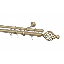 Карниз металлический Arttex с наконечником №250, 2-рядный, бронза, 160 см, ø 28 мм, ø 20 мм