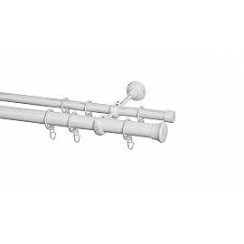 Карниз металлический Arttex с наконечником №299, 2-рядный, белое золото ампир, 240 см, ø 28 мм, ø 20 мм