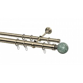 Карниз металлический Arttex с наконечником №487, 2-рядный, золото антик, 160 см, ø 28 мм, ø 20 мм