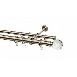 Карниз металлический Arttex с наконечником №65, 2-рядный, золото антик, 280 см, ø 28 мм, ø 20 мм