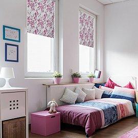 """Рулонная штора ролло блэкаут """"Акварельные цветы"""", лиловый, 160 см"""