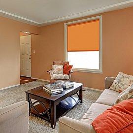 """Рулонная штора ролло однотонный блэкаут """"Плайн"""", оранжевый, 90 см"""