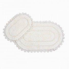 Набор ковриков с гипюром Arya Afro (60*100 см; 50*60 см), кремовый