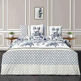 КПБ ранфорс Arya Adiel (1.5 спальный), белый, голубой, зеленый
