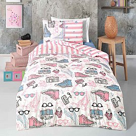 КПБ детское ранфорс Arya Enjoy (1.5 спальный), белый, розовый, голубой