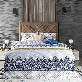 КПБ ранфорс Arya Milo (1.5 спальный), белый с голубым