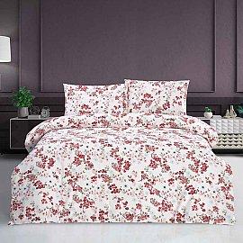 КПБ ранфорс Arya Mita (1.5 спальный), белый с красным