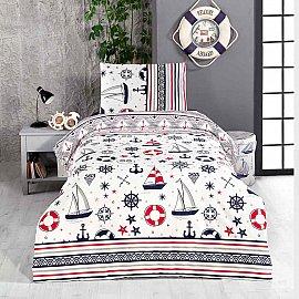 КПБ детское ранфорс Arya Sailor (1.5 спальный), белый, красный, синий