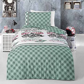 КПБ детское ранфорс Arya Union Road (1.5 спальный), белый, зеленый