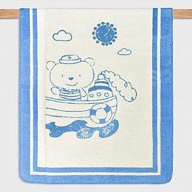 Плед детский хлопок Arya Captain, голубой с бежевым, 100*120 см