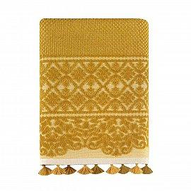 Полотенце жаккард бархатное с бахромой Arya Noya, желтый, 70*140 см