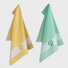 Набор кухонных полотенец с вышивкой Arya Bouquet 1, желтый, зеленый, 45*65 см - 2 шт