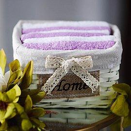 Набор полотенец Arya Home Ecru, сиреневый, белый, 30*30 см - 6 шт