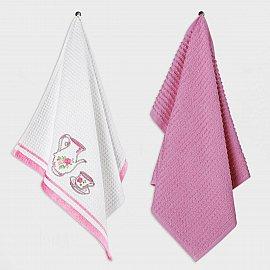 Набор кухонных полотенец Arya Tea Cup, белый, розовый, 40*60 см - 2 шт