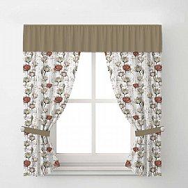 Комплект штор Arya Corn Poppy, кремовый с коричневым, 170*200 см
