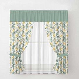 Комплект штор Arya Tulip с тюлем, белый с зеленым
