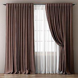 Комплект штор Омма, коричневый, 240*270 см