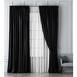 Комплект штор Шанти, черный, 240*270 см