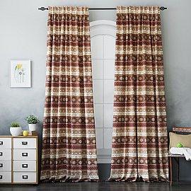 Комплект штор Уолис, коричневый, 170*270 см