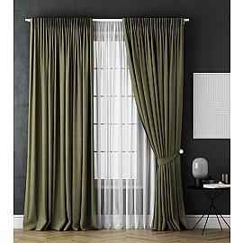 Комплект штор Каспиан, зеленый, 240*270 см