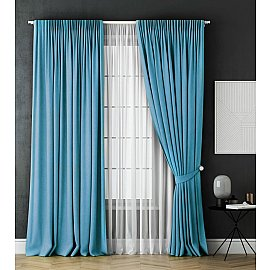Комплект штор Каспиан, голубой, 240*270 см
