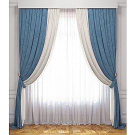 Комплект штор Латур, бело-голубой, 240*270 см