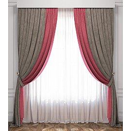 Комплект штор Латур, розово-серый, 240*270 см