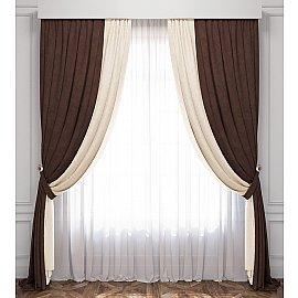 Комплект штор Латур, сливочный, венге, 240*270 см