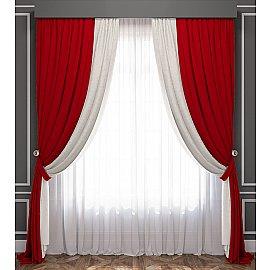 Комплект штор Латур, красно-белый, 240*270 см