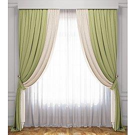 Комплект штор Латур, сливочно-зеленый, 170*270 см