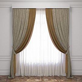 Комплект штор Латур, серый, темно-бежевый, 170*270 см