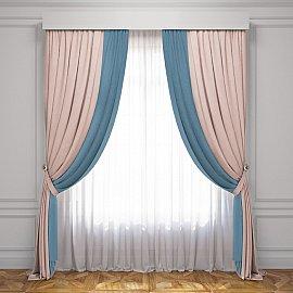 Комплект штор Латур, светло-розовый, голубой, 240*270 см