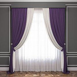 Комплект штор Латур, баклажановый, белый, 240*270 см