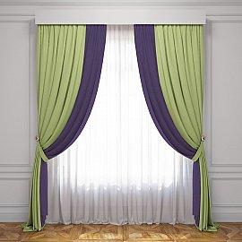 Комплект штор Латур, зеленый, баклажановый, 170*270 см