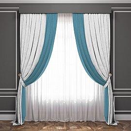 Комплект штор Латур, белый, бирюзовый, 240*270 см