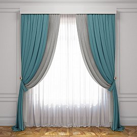 Комплект штор Латур, бирюзовый, серый, 240*270 см