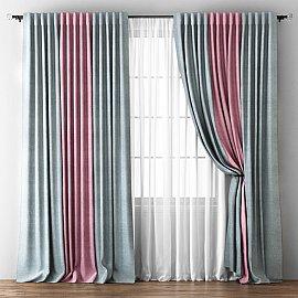 Комплект штор Кирстен, серый, розовый, 240*270 см