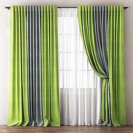 Комплект штор Кирстен, зеленый, серый, 170*270 см
