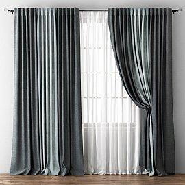 Комплект штор Кирстен, мокрый асфальт, серый, 240*270 см