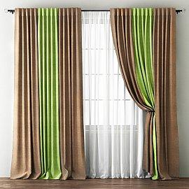 Комплект штор Кирстен, бежевый, зеленый, 170*270 см